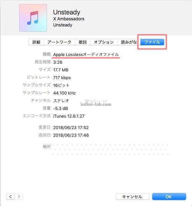 iTunes 曲のファイル情報