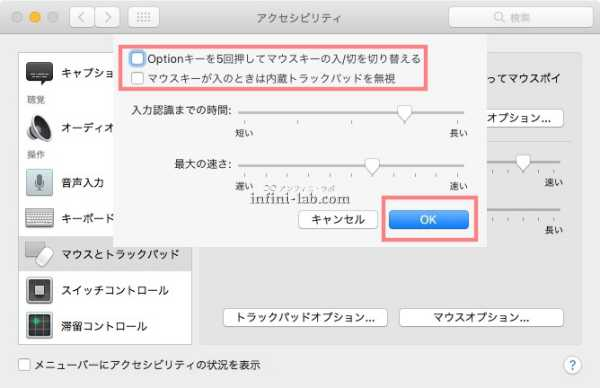 Macで数字が入力できないときに確認するマウスキーのオプション