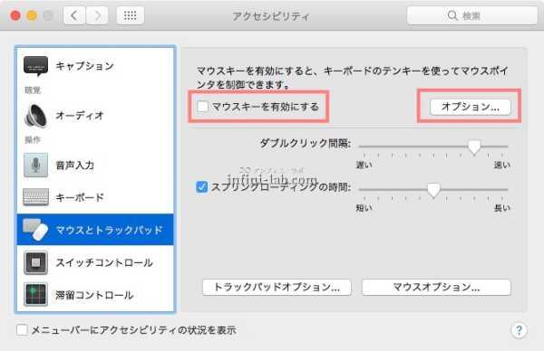 Macで数字が入力できないときに確認するマウスキーの設定
