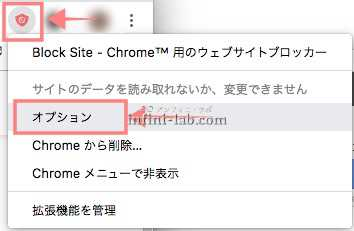 Chrome拡張機能BlockSiteでオプションを開く
