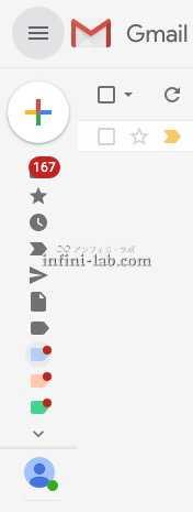 Gmailで折りたたんだサイドバーのラベル色表示