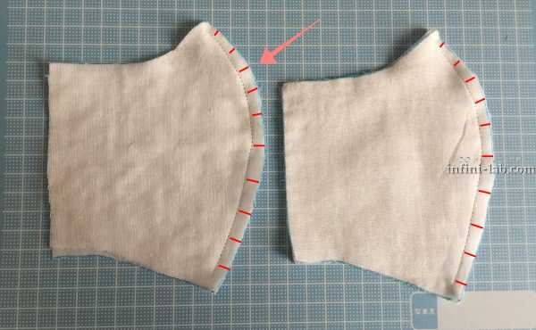 立体型マスクの作り方 縫い代を片側に倒す