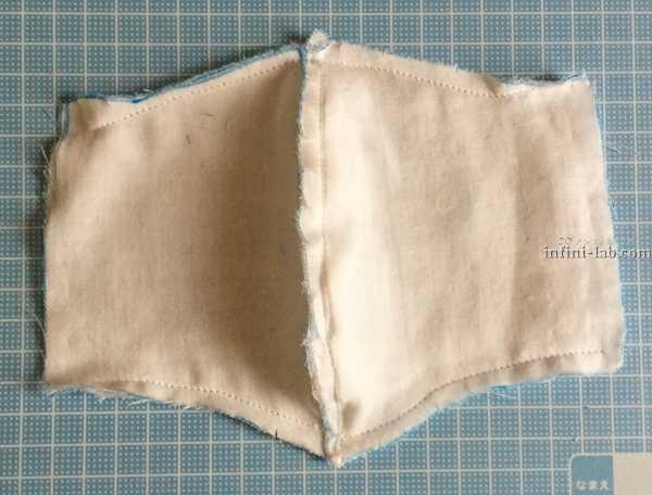 立体型マスクの作り方 表と裏を合わせて縫った